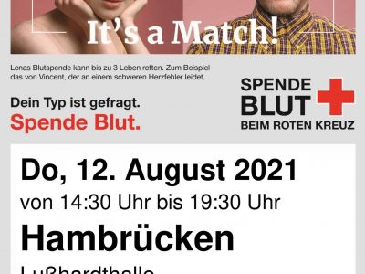 Plakat Blutspenden 12.08.